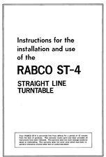 Harman Kardon ST-4-RABCO Turntable Owners Instruction Manual