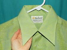 Nwot! Vtg 70s Short Slv Button Down Shirt, Geo, Mod, Marlboro Poly Cotton, Sz M