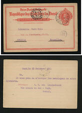 Brazil   postal  card to   Belgium    1911     MM0202