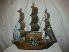 Vintage Old Wood & Metal Sailing Ship Clock