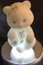 FENTON Glass Sitting Bear - Satin White with Blue/Purple Flowers - (JJ)