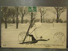 cpa 07 sports d'hiver dans les cevennes ski skieur une pele