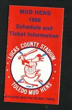 Toledo Mud Hens--1988 Pocket Schedule--Pepsi/FoodTown--Tigers Affiliate