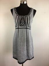 Esley Women Dress M Medium A Line Blue Chambray Embroidered Geometric Sleeveless