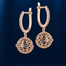 Russian Rose Gold 14k/ 585 Dangling Earrings With Green CZs 4mm STUNNING