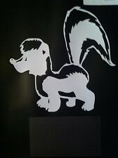 White Vinyl Decal Skunk  Trap traps trapping 5 X 5  # 203
