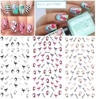 Nail Art Water Decals Transfers Stickers Summer Palm Trees Flamingo Beach