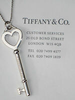 Tiffany & Co Sterling Silver Large Heart Key on Bead Necklace