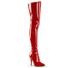 """Pleaser Seduce-3000 Thigh High Over Knee Boots 5"""" Stiletto High Heels Zip Party"""
