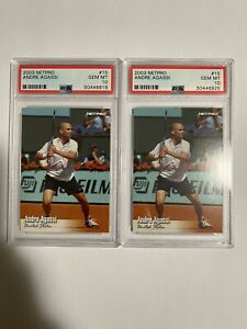 Andre Agassi PSA 10 2 Card Lot 2003 Netpro Tennis Card USA