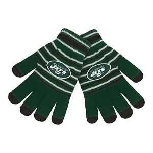New York Jets Gloves Acrylic Stripe Knit Sports Logo Winter New - Texting Tips