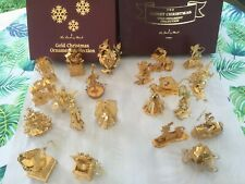 21 Vintage Danbury Mint 23K Gold Plated Christmas Ornaments Disney - 1997 Used