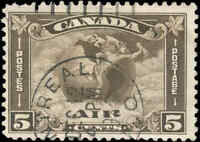 1930 Used Canada 5c F+ Scott #C2 Air Mail Stamp
