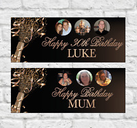 "40""x15"" Personalised Birthday Party Banner Rose Gold Champagne"