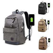 27L Vintage USB Backpack Women Men's Sports Canvas Shoulder Bag School Travel