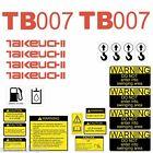 Takeuchi TB007 Decals Kit Mini Excavator repro Decal Set TB007 stickers kit