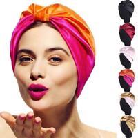 Turban Cap Headband Elastic Silk Hair Bonnet Head Cover Hats Sleep Satin Ba W2W2