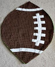 NWT! Mud Pie Minky Football Baby Blanket Lovey Super Soft Textured Brown/Tan