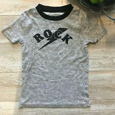 Children's Place Boys Gray T-Shirt, ROCK Guitar Theme, Size 7, GUC
