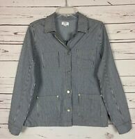 Crown & Ivy Boutique Women's Sz M Medium Blue Striped Button Spring Coat Jacket
