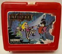 VTG 1989 Thermos Red Plastic BEETLEJUICE Lunch Box (No Thermos) RARE -FREE SHIP
