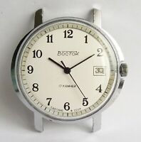 Vintage Soviet Export Watch VOSTOK 17 jewels Date Mechanical USSR White Dial