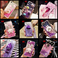 Dynamic Liquid Glitter Quicksand Soft bumper back Phone Case Cover & Lanyard #F