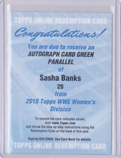 2018 Topps WWE Women's Division Sasha Banks /150 Auto GREEN Autographs
