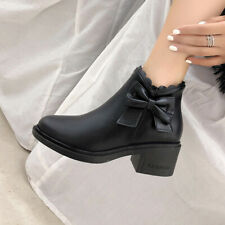 Fall Winter Casual Round Toe Bootie Womens Block Heel Side Zip Bows Ankle Boots