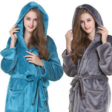 UK Womens Soft Hooded Long Bathrobe Dressing Gown Housecoat Ladies Girls Luxury