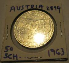 Austria 50 Schilling Silver Coin 20 gram ASW .5787 1963 KM 2894