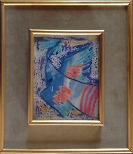 Henri PLISSON 1908-2002.L'oiseau bleu.1960.Technique mixte.14x11.SBG.Encadré.