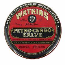 Vintage Watkins Petro-Carbo Salve 11 1/4 oz. Empty Tin