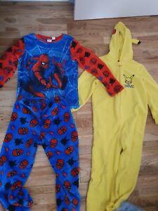 Pikachu Kids Unisex Hooded Pyjama Onesy Size Age 7-8 & Spiderman Pyjamas Age 8-9
