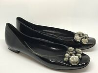 KATE SPADE NEW YORK Shoes CRYSTAL JEWELED BLACK PATENT LEATHER Flats Size: 7.5 B