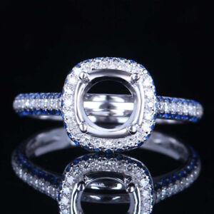 Round 7mm14K White Gold Semi Mount Engagement Wedding Ring Diamond & Sapphires