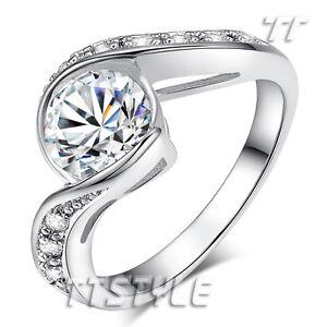 TT White Gold GP 2 Carat Clear CZ Engagement Wedding Ring Size 5-8 (RF89)