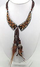 """HANDMADE 22""""-24"""" Brown Wood, Glass & Feather Showstopper Necklace Retail $100"""