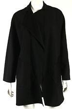 PETER COHEN Black Wool Blend Single Button Draped Front Coat S