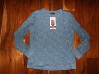 NWT Womens ADRIANNA PAPELL Chambray Blue Lace Top Short Sleeve Shirt Size S $58