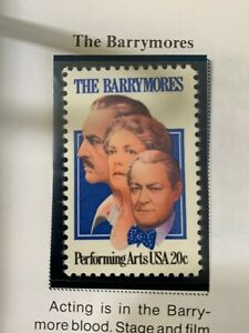 Scott # 2012 Performing Arts Series - The Barrymores 20 Cent Stamp- MNH