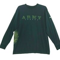 ARMY Strong Crew Neck Tee T-Shirt Mens Size XL Faded Black Long Sleeve Cotton