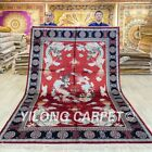 6x9ft Red Dragon Design Silk Area Rug Hand Knotted Carpet Classic Handmade 049C