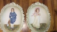 Pair Lefton China Japan KW3504 Hand Painted Wall Plaque Colonial Blue Boy, Girl