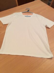 boys clothes 10-11 years F&F White Cotton V Neck Short Sleeved Top T-Shirt