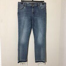 Kut From The Kloth Reese Ankle Jeans Medium Wash Raw Hem Sz 10