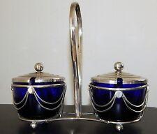 VINTAGE Cobalt Blue Double Condiment Jars Silver Plate Caddy  England