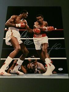 Thomas Hearns & Sugar Ray Leonard Dual Autographed 16x20 Photo - PSA