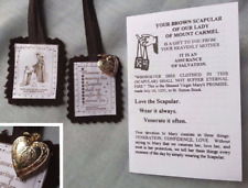Brown Scapular/Miraculous Medal, Pamphlet • Heart Mary Prayer OL Mt Carmel Gift