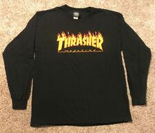 Mens Large Thrasher Skateboarding Magazine Long Sleeve Flame Logo T-Shirt Black